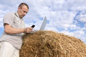 Farmer looking at laptop on a straw bale